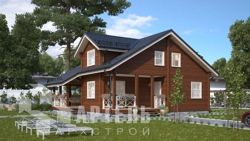 двухэтажный дом из профилированного бруса площадью от 150 до 200 кв. м., проект Вариант 10В-Н фотография 5024