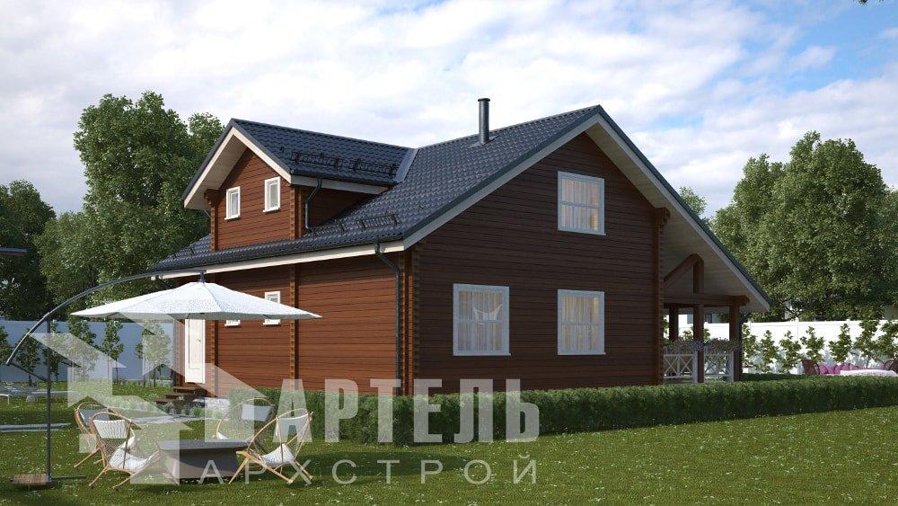 двухэтажный дом из профилированного бруса площадью от 150 до 200 кв. м., проект Вариант 10В-Н фотография 5026