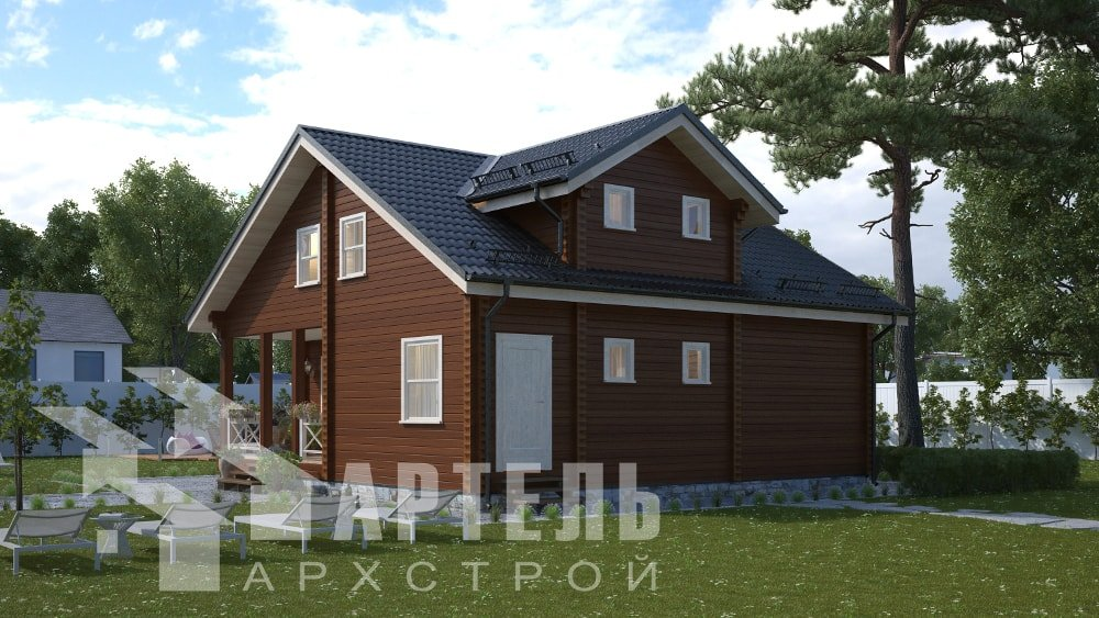 двухэтажный дом из профилированного бруса площадью от 150 до 200 кв. м., проект Вариант 10В-Н фотография 5028