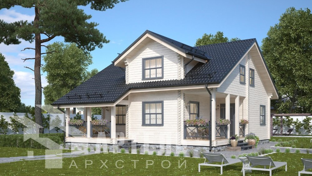 двухэтажный дом из профилированного бруса площадью от 150 до 200 кв. м., проект Вариант 10В-Н фотография 5035