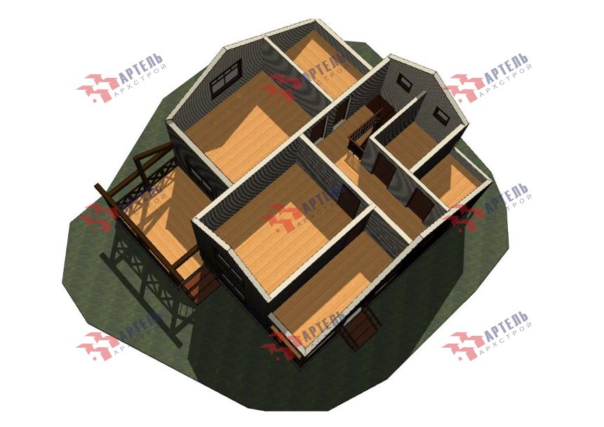 двухэтажный дом из профилированного бруса площадью от 150 до 200 кв. м., проект Вариант 10В-Н фотография 5016