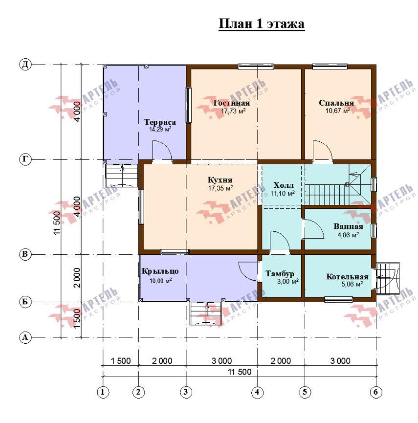 двухэтажный дом из профилированного бруса площадью от 150 до 200 кв. м., проект Вариант 10В-Н фотография 5020