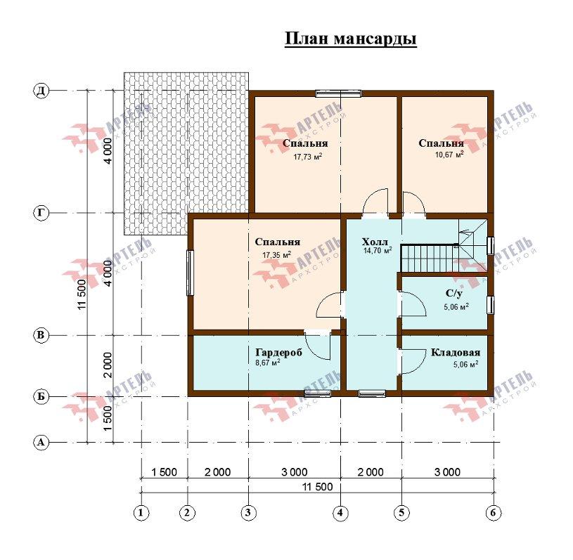 двухэтажный дом из профилированного бруса площадью от 150 до 200 кв. м., проект Вариант 10В-Н фотография 5021