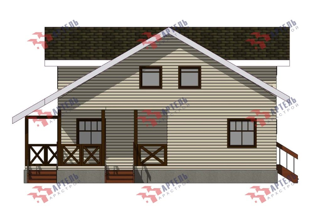 двухэтажный дом из профилированного бруса площадью от 150 до 200 кв. м., проект Вариант 10В-Н фотография 5038
