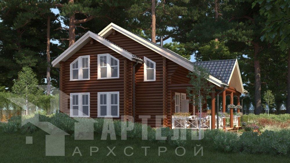 двухэтажный дом из профилированного бруса площадью от 100 до 150 кв. м., проект Вариант 8,4Б фотография 5058