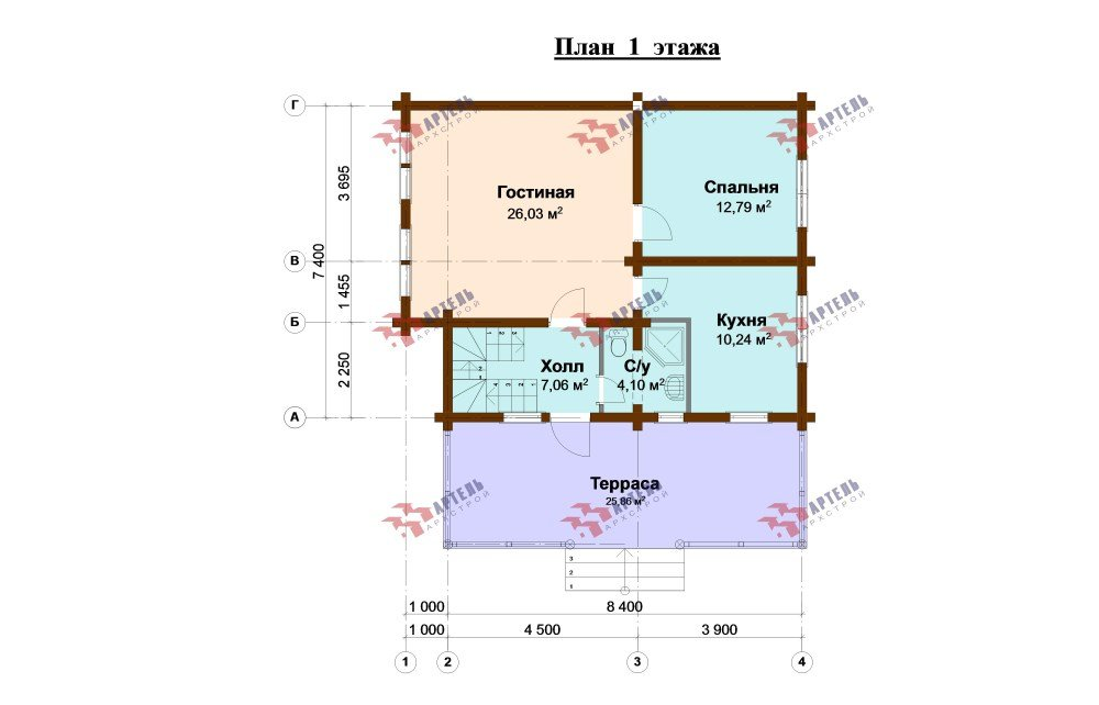 двухэтажный дом из профилированного бруса площадью от 100 до 150 кв. м., проект Вариант 8,4Б фотография 5068