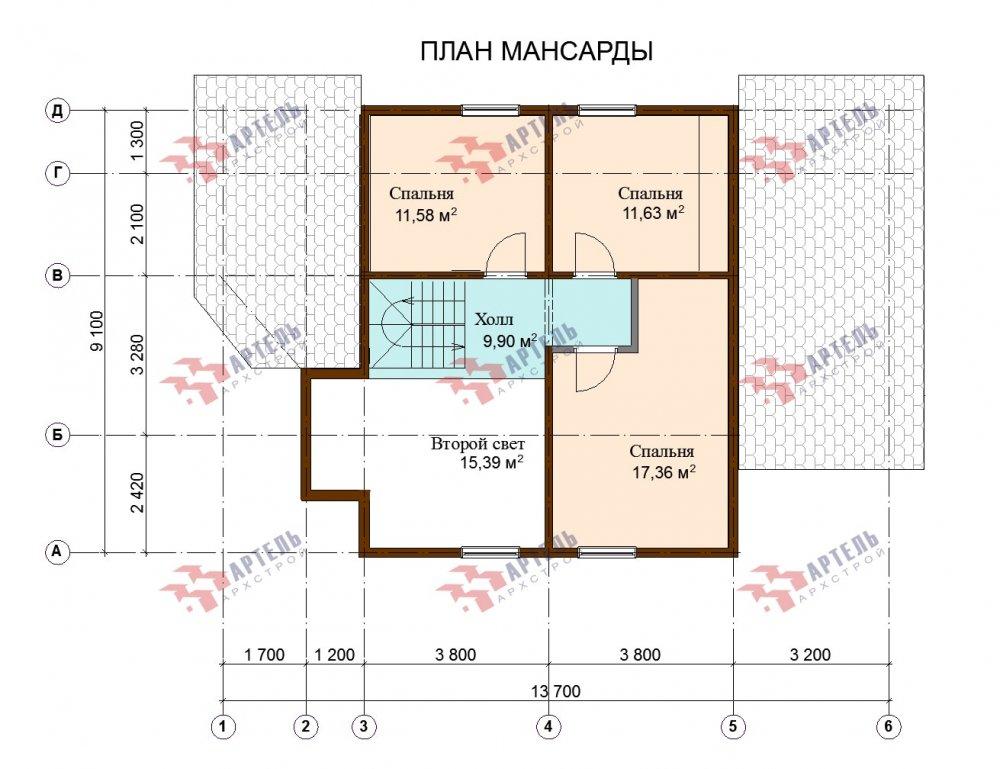 двухэтажный дом из профилированного бруса площадью от 150 до 200 кв. м., проект Вариант 9,1А фотография 5053