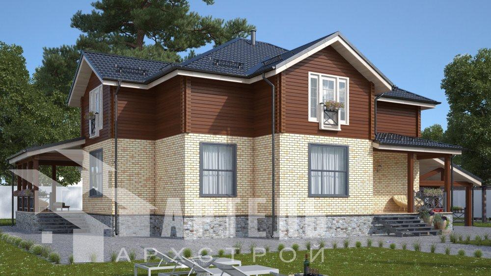 двухэтажный дом омбинированные дома площадью свыше 200 кв. м., проект Вариант 14К Камень и Комбинированный фотография 5238