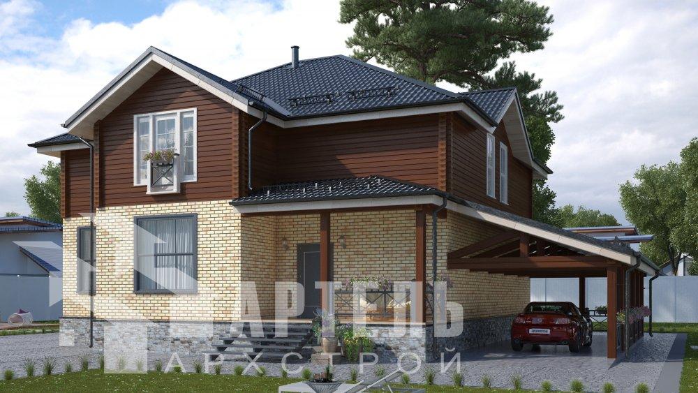 двухэтажный дом омбинированные дома площадью свыше 200 кв. м., проект Вариант 14К Камень и Комбинированный фотография 5239