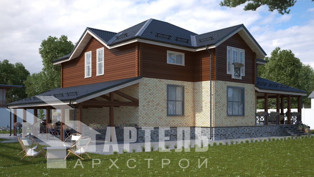 двухэтажный дом омбинированные дома площадью свыше 200 кв. м., проект Вариант 14К Камень и Комбинированный фотография 5240