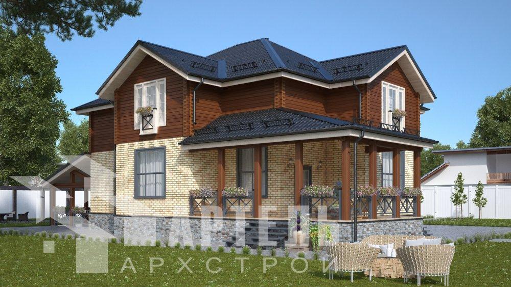 двухэтажный дом омбинированные дома площадью свыше 200 кв. м., проект Вариант 14К Камень и Комбинированный фотография 5241