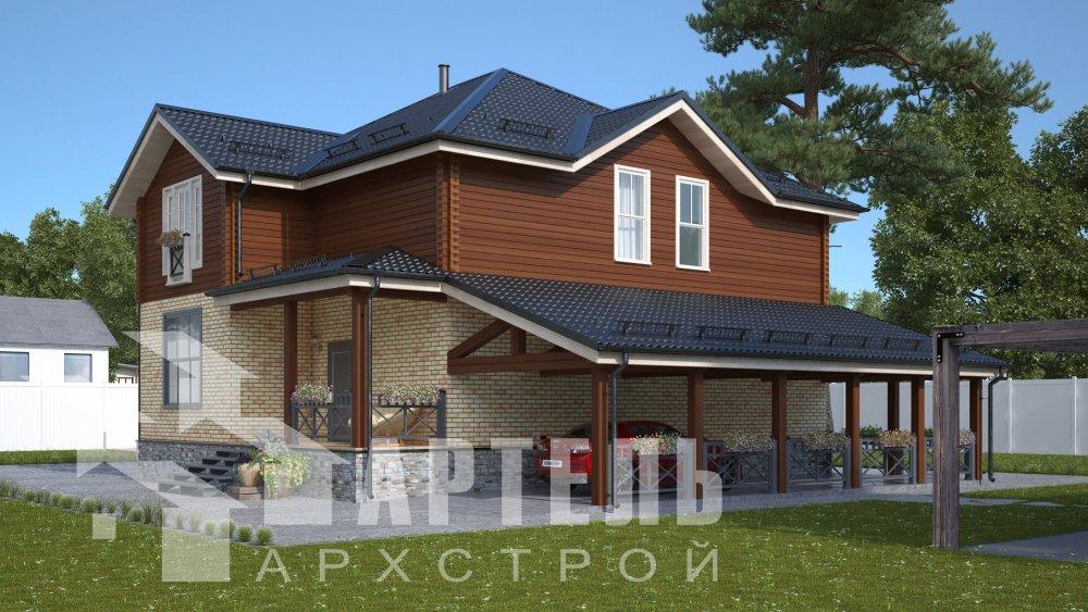 двухэтажный дом омбинированные дома площадью свыше 200 кв. м., проект Вариант 14К Камень и Комбинированный фотография 5242