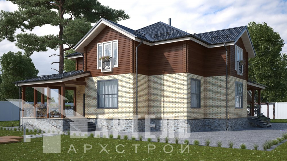 двухэтажный дом омбинированные дома площадью свыше 200 кв. м., проект Вариант 14К Камень и Комбинированный фотография 5243