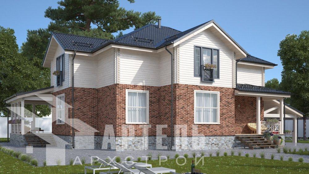 двухэтажный дом омбинированные дома площадью свыше 200 кв. м., проект Вариант 14К Камень и Комбинированный фотография 5244