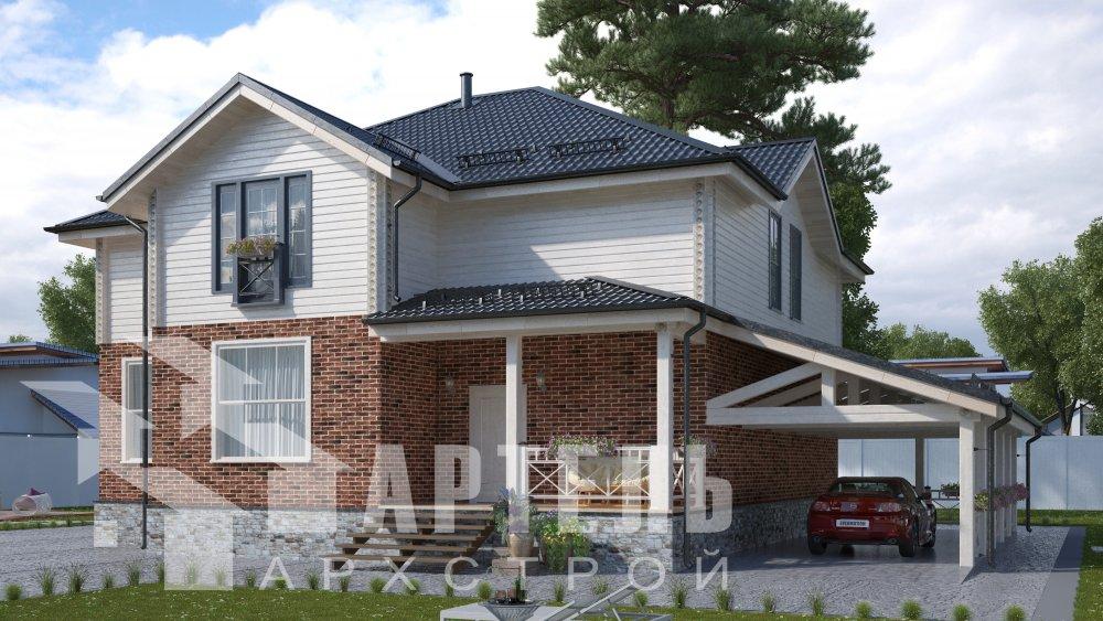 двухэтажный дом омбинированные дома площадью свыше 200 кв. м., проект Вариант 14К Камень и Комбинированный фотография 5245