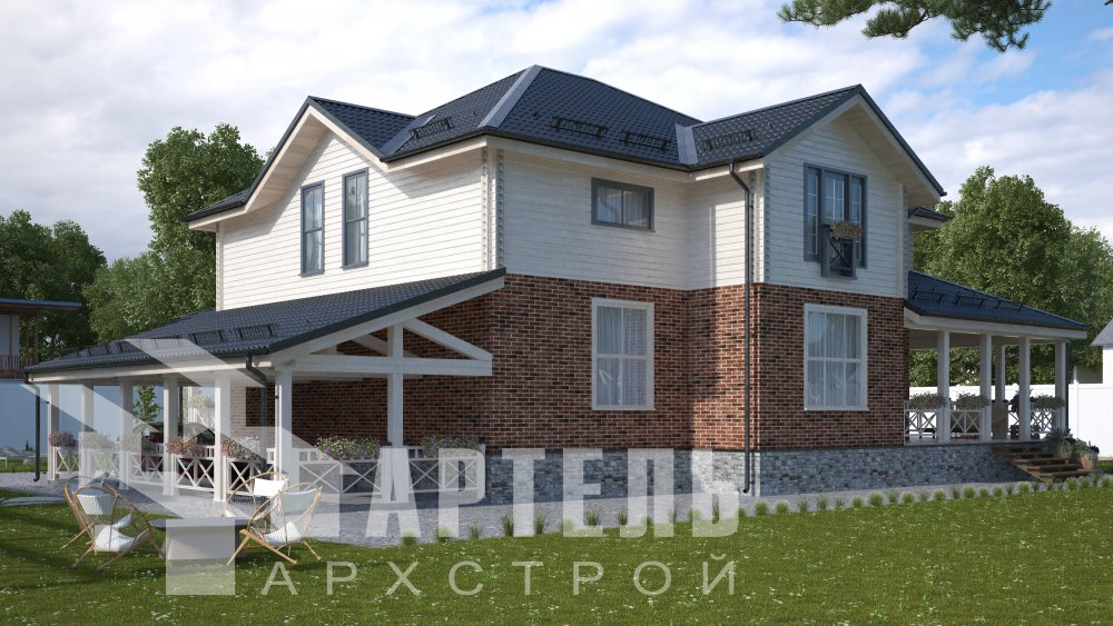 двухэтажный дом омбинированные дома площадью свыше 200 кв. м., проект Вариант 14К Камень и Комбинированный фотография 5246
