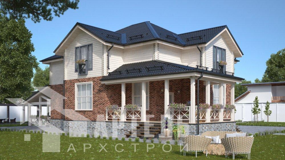 двухэтажный дом омбинированные дома площадью свыше 200 кв. м., проект Вариант 14К Камень и Комбинированный фотография 5247