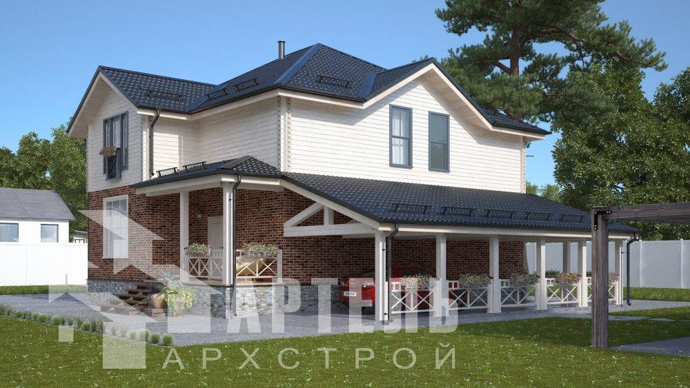 двухэтажный дом омбинированные дома площадью свыше 200 кв. м., проект Вариант 14К Камень и Комбинированный фотография 5248
