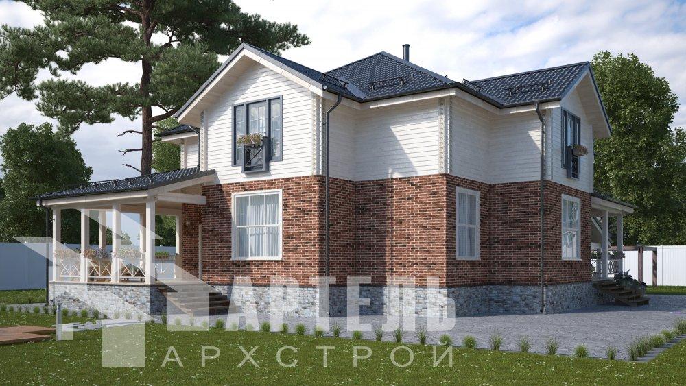 двухэтажный дом омбинированные дома площадью свыше 200 кв. м., проект Вариант 14К Камень и Комбинированный фотография 5249
