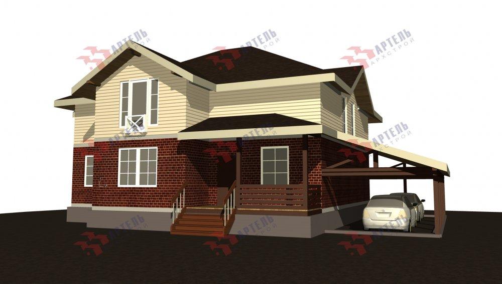 двухэтажный дом омбинированные дома площадью свыше 200 кв. м., проект Вариант 14К Камень и Комбинированный фотография 5250