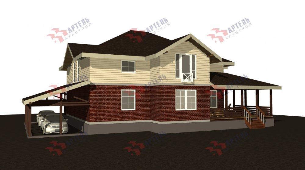 двухэтажный дом омбинированные дома площадью свыше 200 кв. м., проект Вариант 14К Камень и Комбинированный фотография 5252