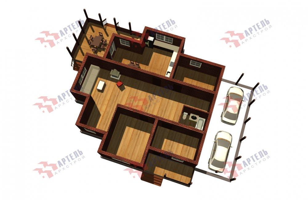 двухэтажный дом омбинированные дома площадью свыше 200 кв. м., проект Вариант 14К Камень и Комбинированный фотография 5253