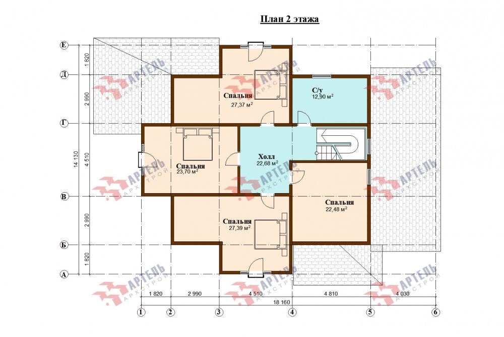 двухэтажный дом омбинированные дома площадью свыше 200 кв. м., проект Вариант 14К Камень и Комбинированный фотография 5259