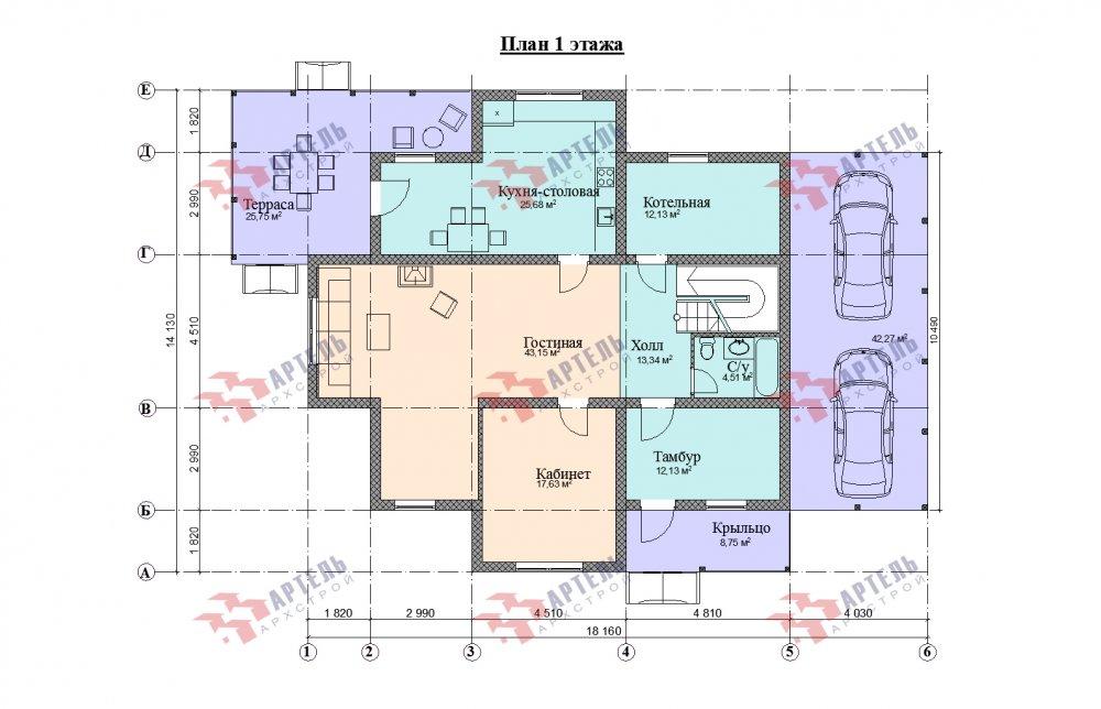 двухэтажный дом омбинированные дома площадью свыше 200 кв. м., проект Вариант 14К Камень и Комбинированный фотография 5260