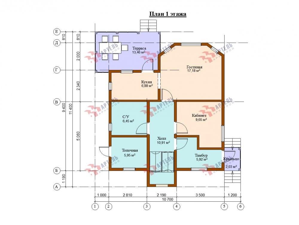двухэтажный дом из бруса площадью от 100 до 150 кв. м. с  балконом, террасой, проект Вариант 10.7Л фотография 5090