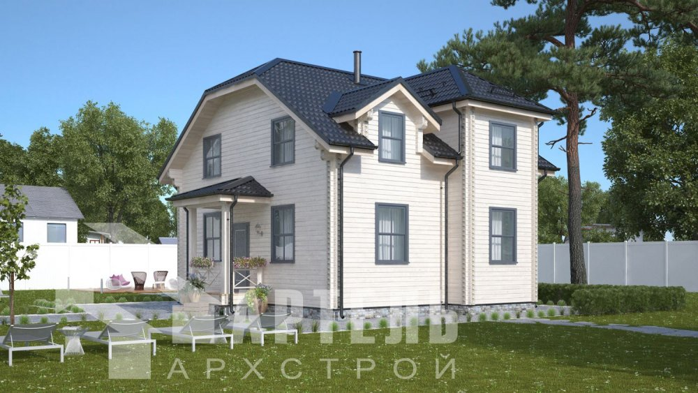 двухэтажный дом из профилированного бруса площадью от 100 до 150 кв. м., проект Вариант 9С фотография 5136
