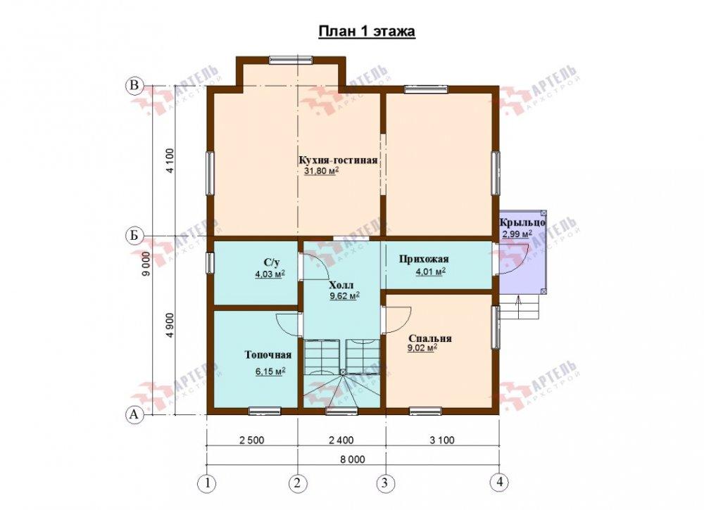 двухэтажный дом из профилированного бруса площадью от 100 до 150 кв. м., проект Вариант 9С фотография 5141