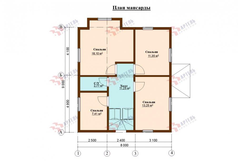 двухэтажный дом из профилированного бруса площадью от 100 до 150 кв. м., проект Вариант 9С фотография 5142