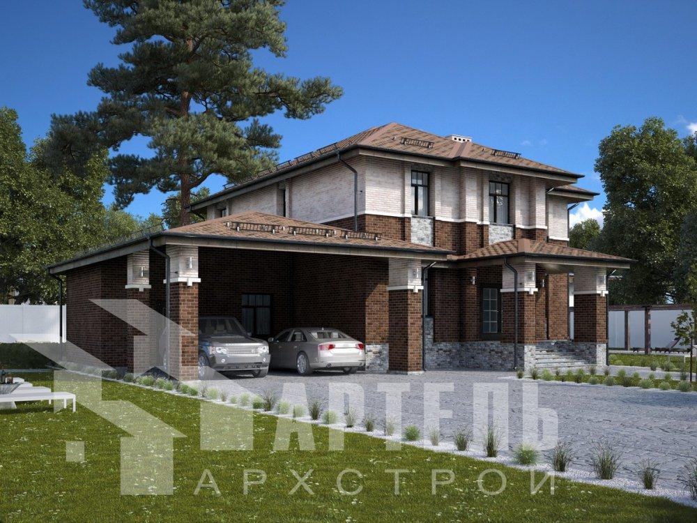 двухэтажный дом омбинированные дома площадью свыше 200 кв. м., проект Вариант 18,4А Камень и Комбинированный фотография 6050