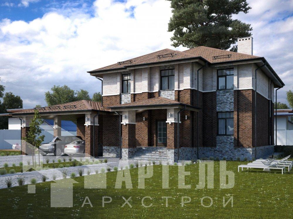 двухэтажный дом омбинированные дома площадью свыше 200 кв. м., проект Вариант 18,4А Камень и Комбинированный фотография 6051