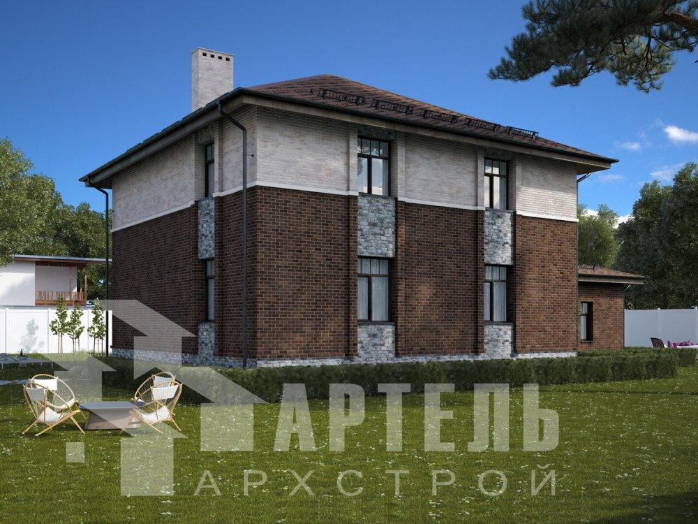 двухэтажный дом омбинированные дома площадью свыше 200 кв. м., проект Вариант 18,4А Камень и Комбинированный фотография 6052