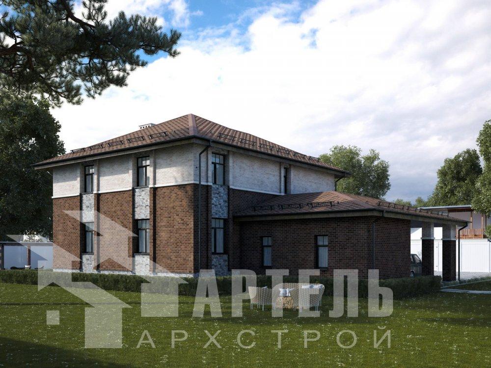 двухэтажный дом омбинированные дома площадью свыше 200 кв. м., проект Вариант 18,4А Камень и Комбинированный фотография 6053