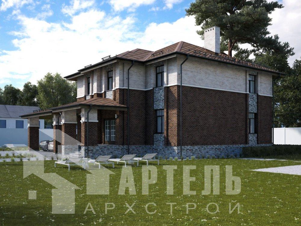двухэтажный дом омбинированные дома площадью свыше 200 кв. м., проект Вариант 18,4А Камень и Комбинированный фотография 6054