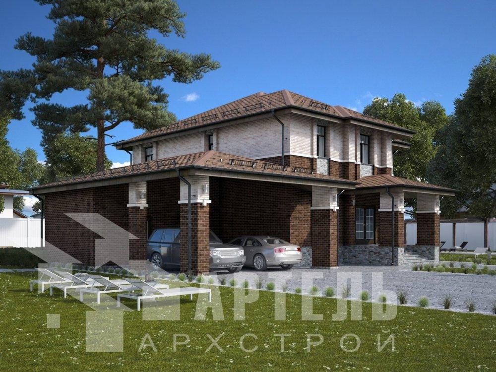 двухэтажный дом омбинированные дома площадью свыше 200 кв. м., проект Вариант 18,4А Камень и Комбинированный фотография 6055