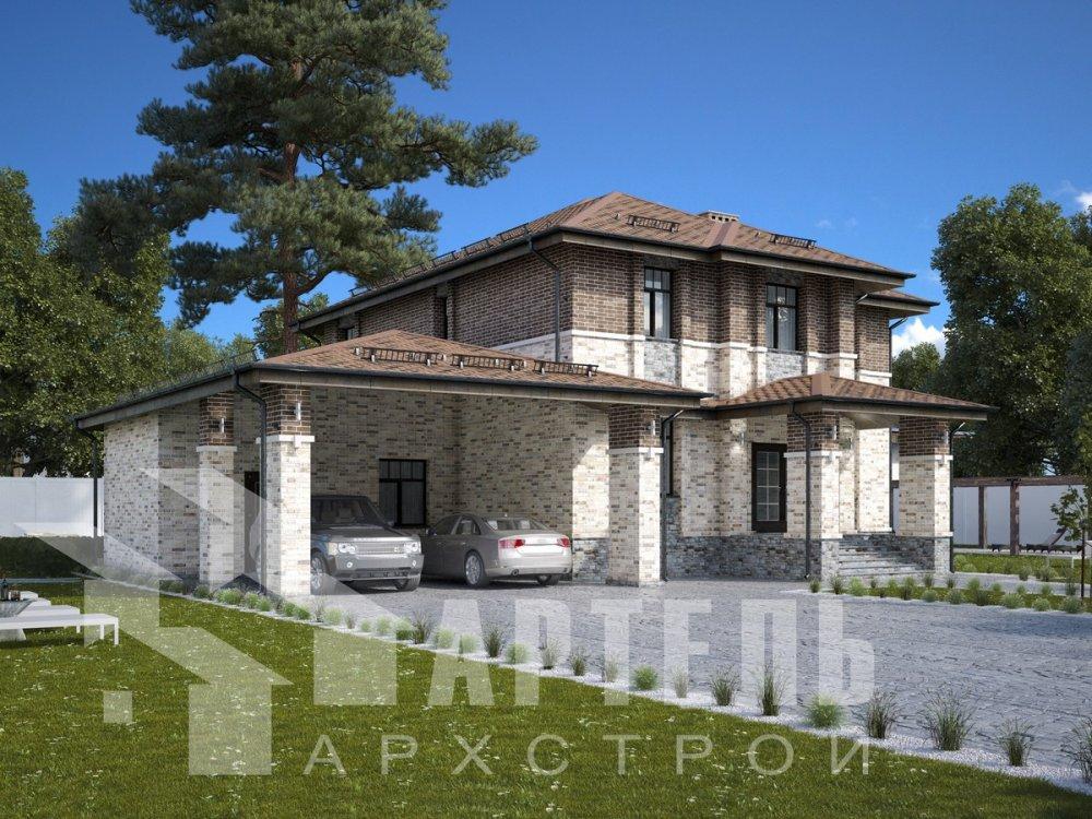 двухэтажный дом омбинированные дома площадью свыше 200 кв. м., проект Вариант 18,4А Камень и Комбинированный фотография 6056