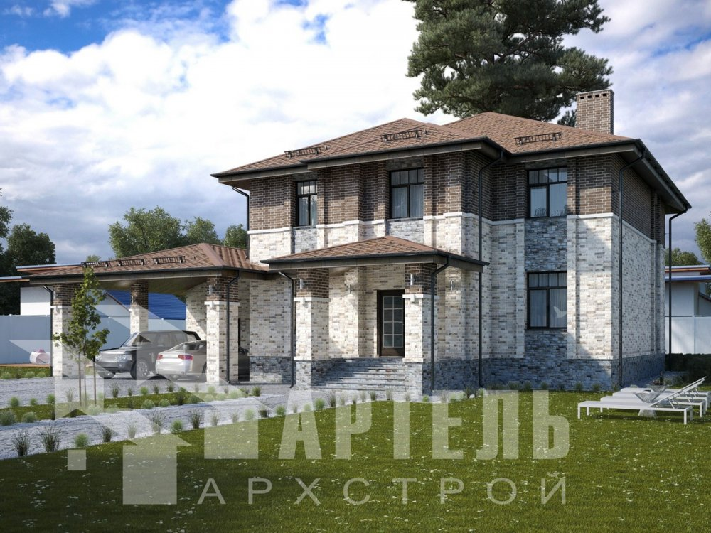 двухэтажный дом омбинированные дома площадью свыше 200 кв. м., проект Вариант 18,4А Камень и Комбинированный фотография 6057