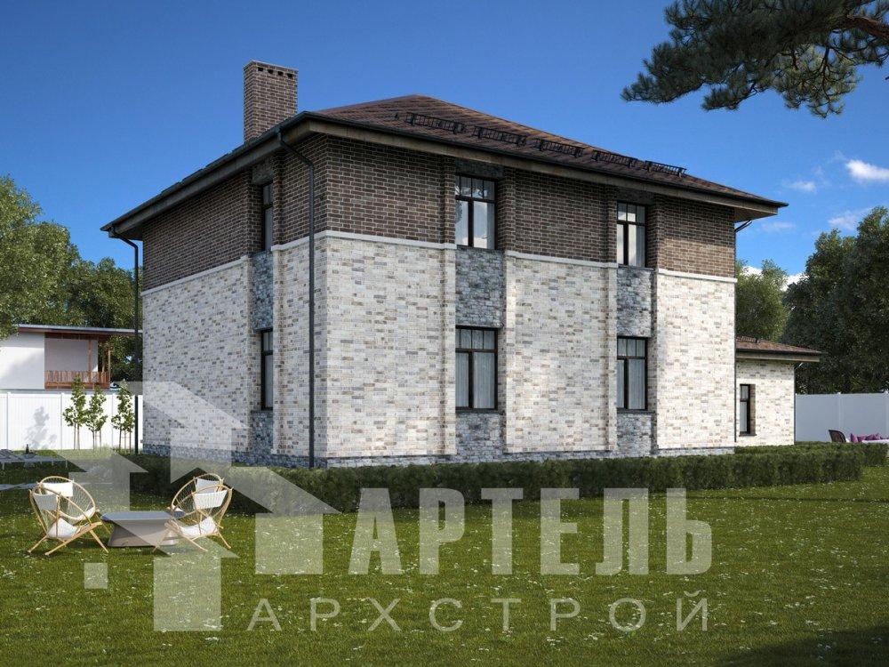 двухэтажный дом омбинированные дома площадью свыше 200 кв. м., проект Вариант 18,4А Камень и Комбинированный фотография 6058