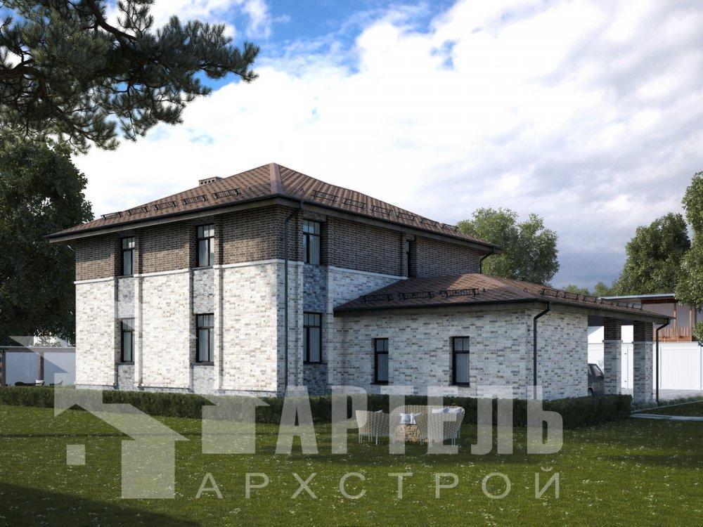 двухэтажный дом омбинированные дома площадью свыше 200 кв. м., проект Вариант 18,4А Камень и Комбинированный фотография 6059