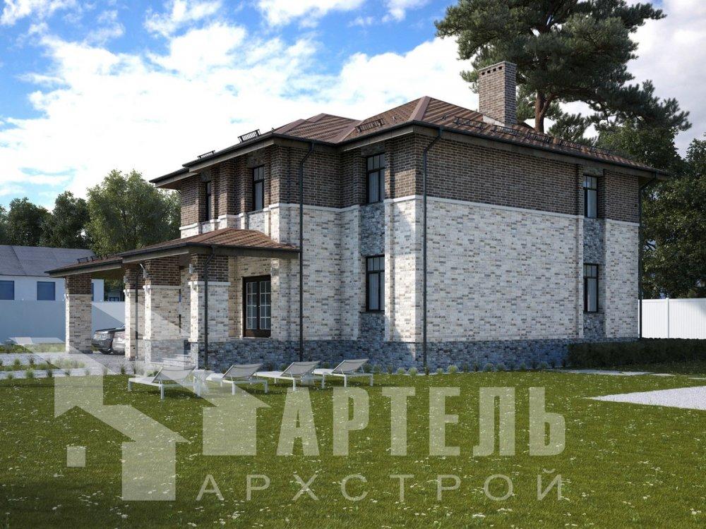 двухэтажный дом омбинированные дома площадью свыше 200 кв. м., проект Вариант 18,4А Камень и Комбинированный фотография 6060