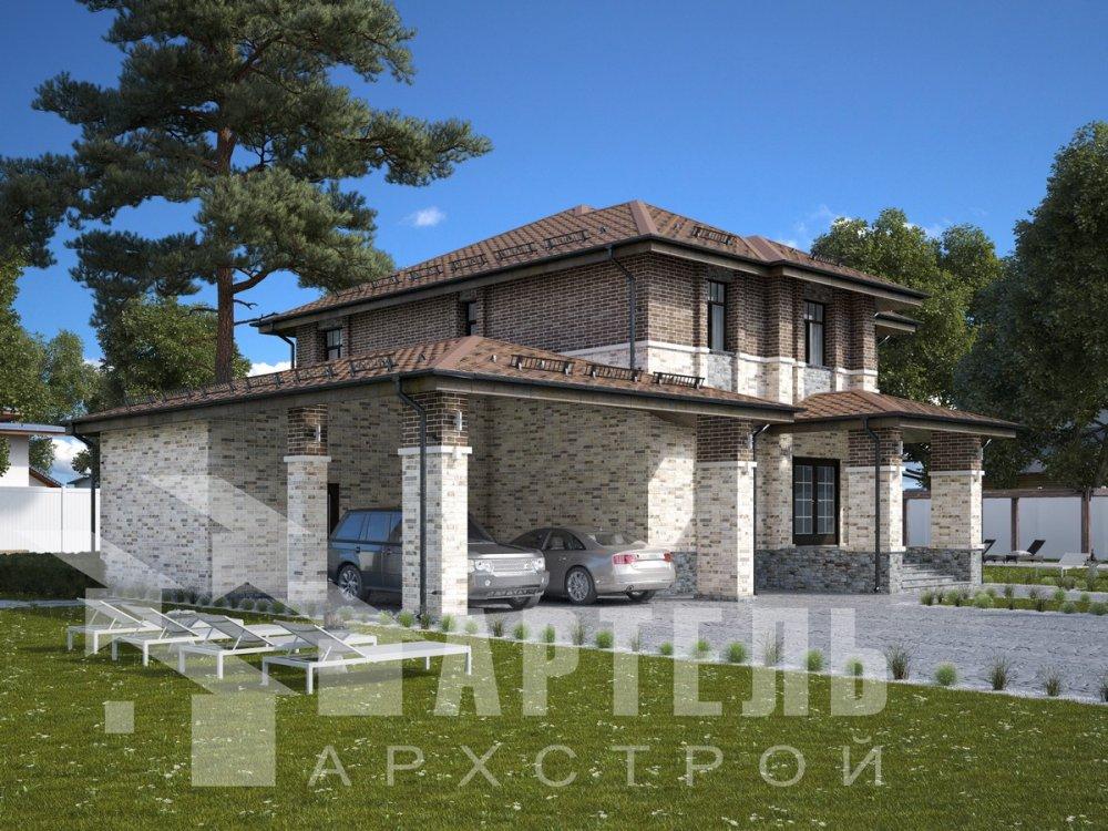 двухэтажный дом омбинированные дома площадью свыше 200 кв. м., проект Вариант 18,4А Камень и Комбинированный фотография 6061