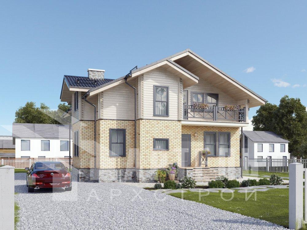 двухэтажный дом омбинированные дома площадью от 150 до 200 кв. м. с  балконом, эркером, проект Вариант 26 Камень и Комбинированный фотография 6297