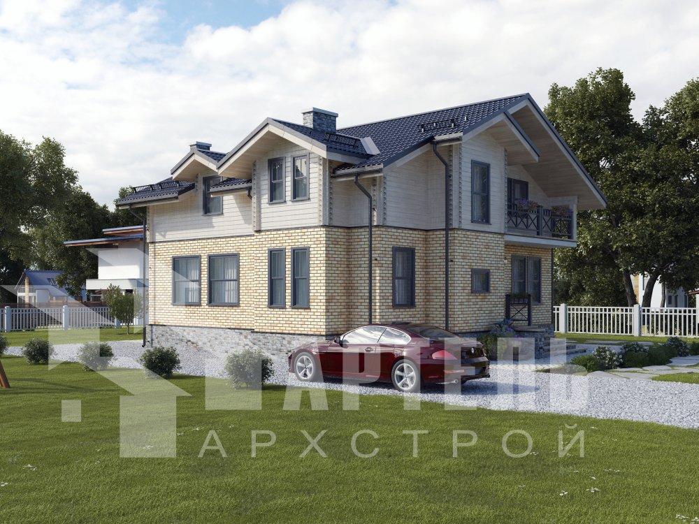 двухэтажный дом омбинированные дома площадью от 150 до 200 кв. м. с  балконом, эркером, проект Вариант 26 Камень и Комбинированный фотография 6296