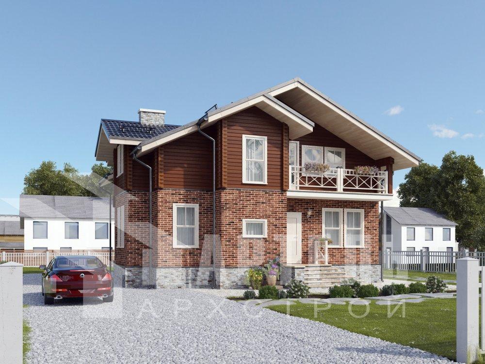 двухэтажный дом омбинированные дома площадью от 150 до 200 кв. м. с  балконом, эркером, проект Вариант 26 Камень и Комбинированный фотография 6298