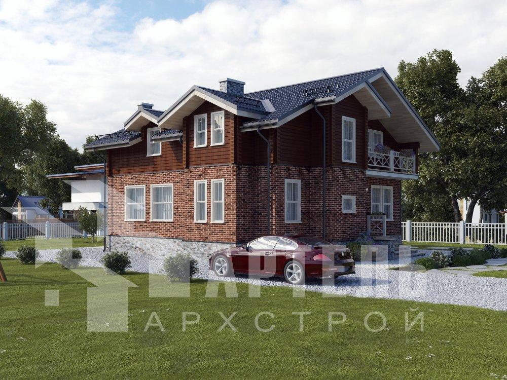 двухэтажный дом омбинированные дома площадью от 150 до 200 кв. м. с  балконом, эркером, проект Вариант 26 Камень и Комбинированный фотография 6299