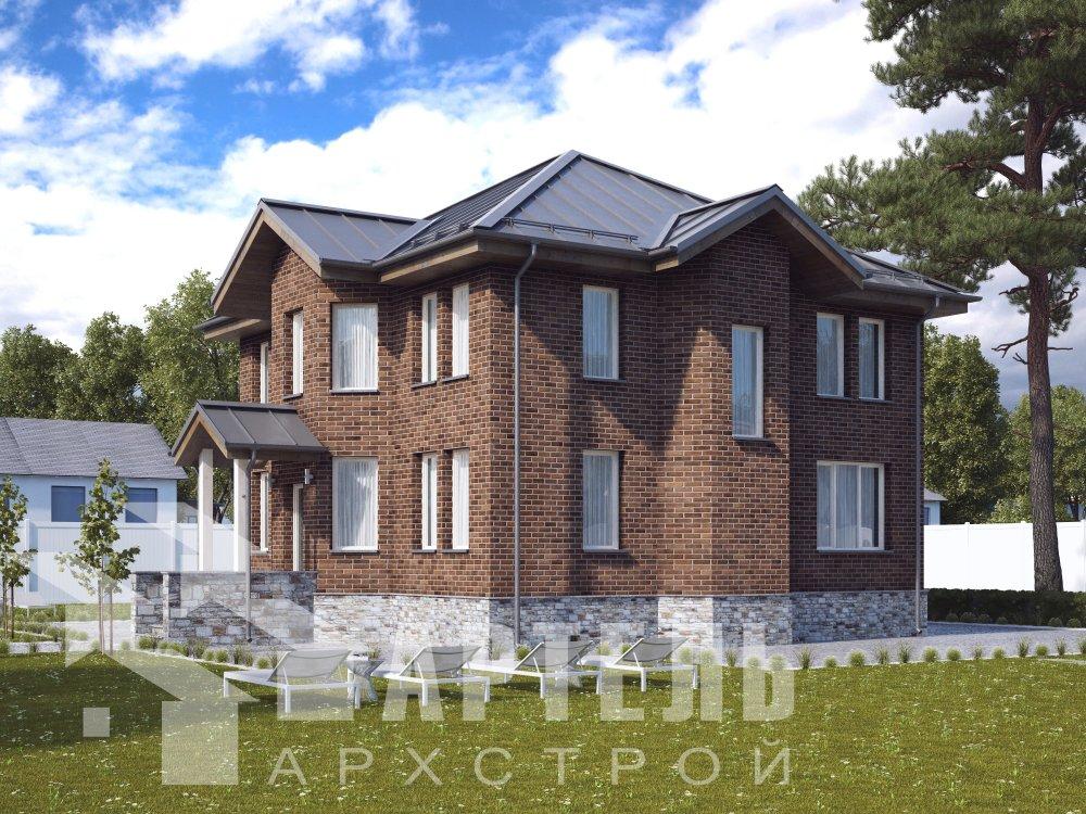 двухэтажный дом омбинированные дома площадью свыше 200 кв. м. с  эркером, проект Вариант 10,6К Камень и Комбинированный фотография 6312