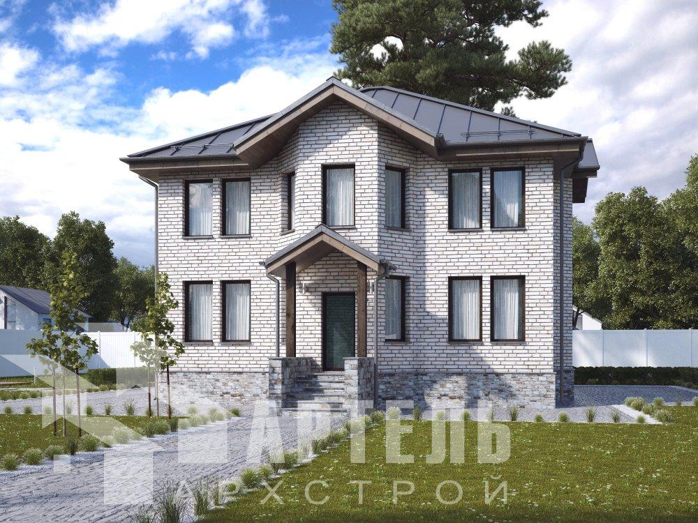 двухэтажный дом из камня площадью от 150 до 200 кв. м. с  террасой, эркером, проект Вариант 10,6К Каменный фотография 6308